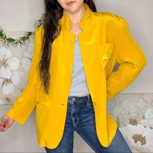 Sunny Leigh | Silk Mustard Yellow Crest Blazer